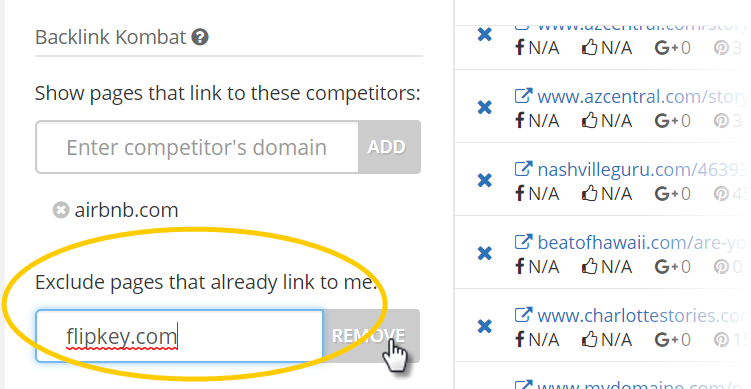 Exclude pages that already link to your domain