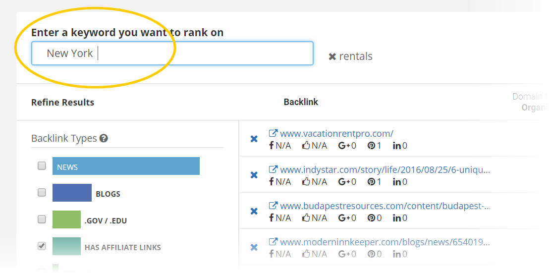 filter your links by keyword