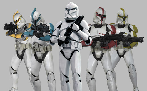 Startroopers standing with their weapons