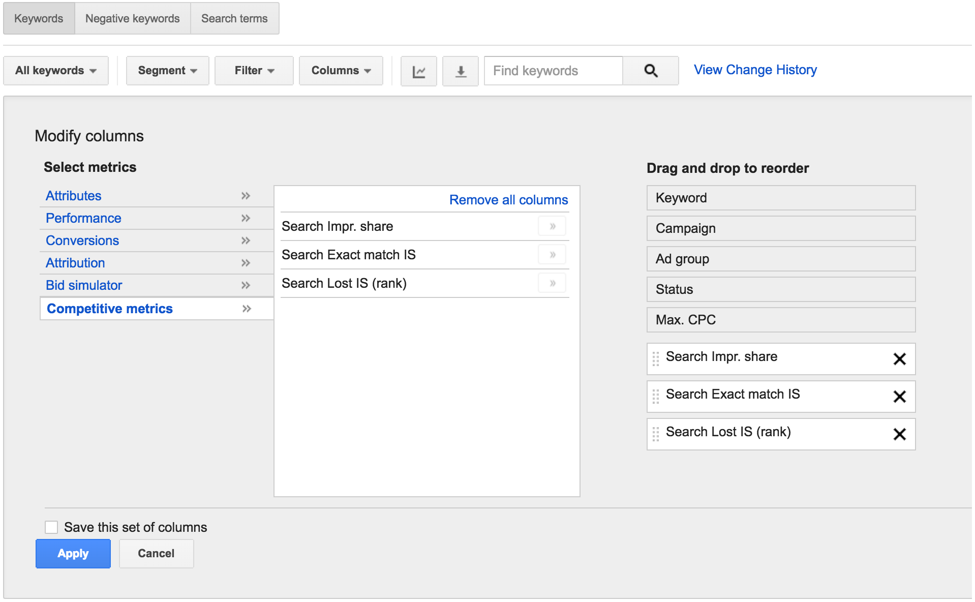 Viewing impression share using Google Adwords modify columns