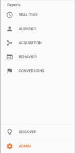 google analytics admin section