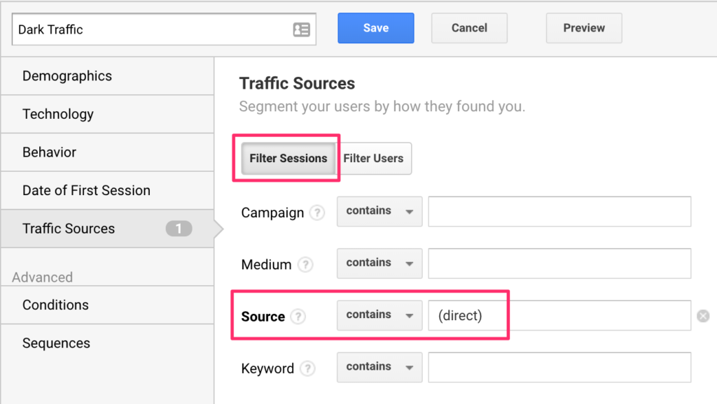 filter direct traffic google analytics