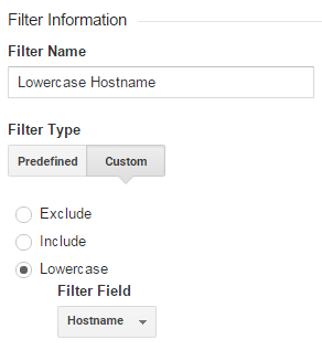 Google analytics filter hostname
