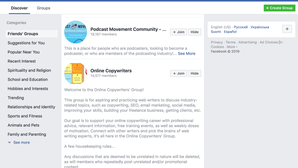 friends groups on Facebook