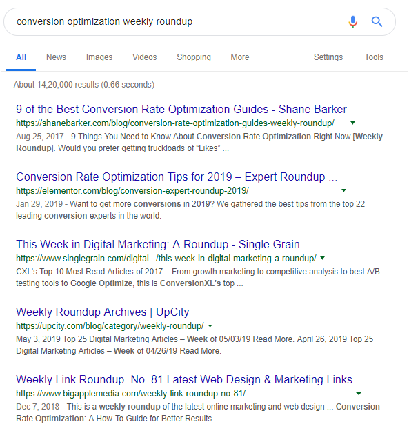 Google Search Result Page Showing Results For A Keyword