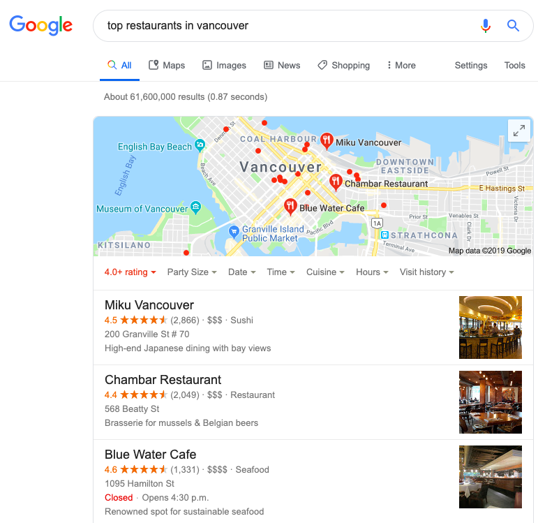 Local Map Pack Example For Restaurants in Vancouver
